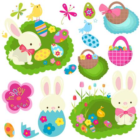 happy easter set Vector