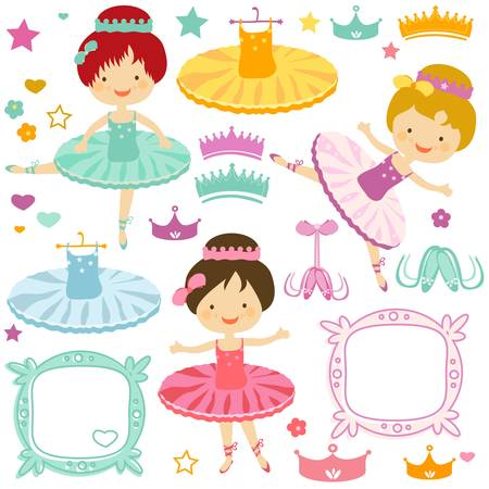 little ballerina set for kids Vector