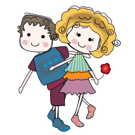 silhouttes: lovely couple, girl and boy inlove Illustration