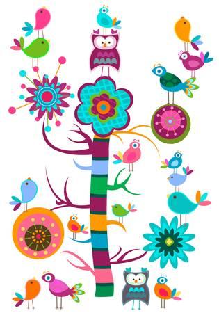 birds in tree: uccelli, albero
