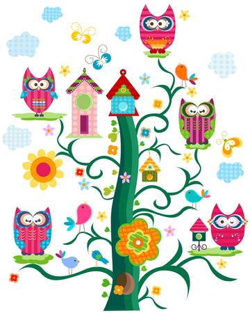 owls tree Vector