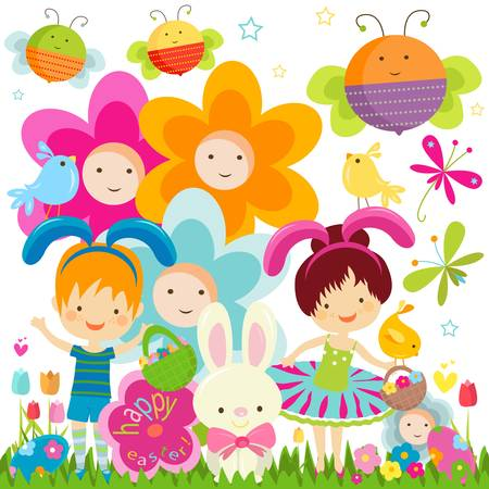 easter background with happy kids, bees and flowers