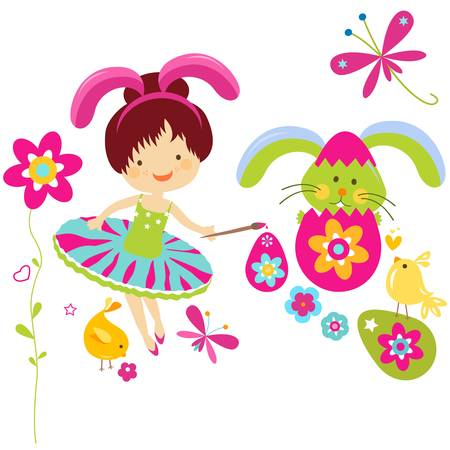 little girl in bunny costume painting a easter egg Vector