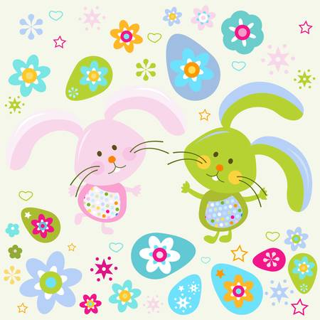 easter bunnies background Vector