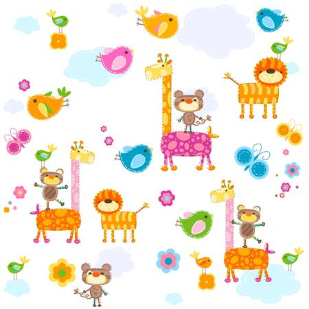 fondo para bebe: animales de colores de fondo para los beb�s Vectores