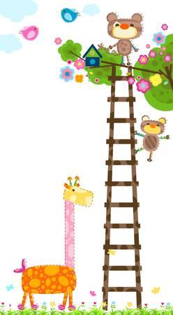 giraffe and little monkeys near a tree with a bird`s house Vector