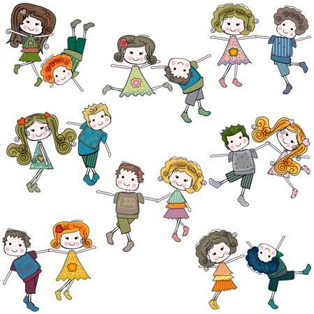 belles jambes: les filles et les garçons qui s'amusent Illustration