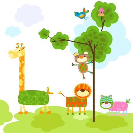 cute animals with tree and bird cage Vector