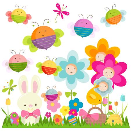 insect on leaf: easter background with happy bees and flowers