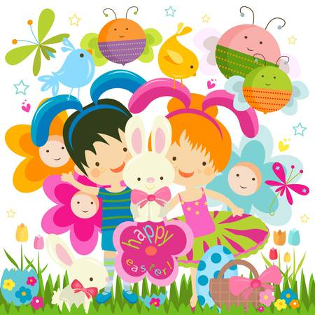 easter background with happy bees and flowers Stock Vector - 17438502