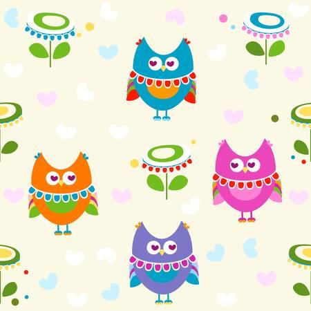 owls seamless pattern  Stock Vector - 17438490