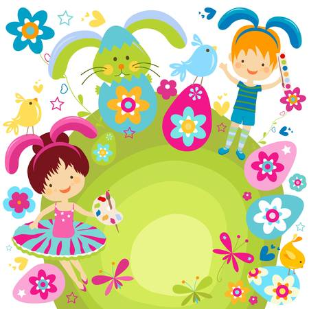 boy and girl in bunny costume ready to ornate the easter eggs Stock Vector - 17438501