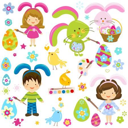 children painting the easter eggs