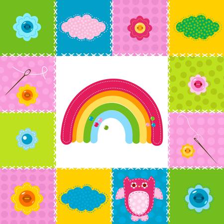 baby background in stitched textile style Stock Vector - 17438484