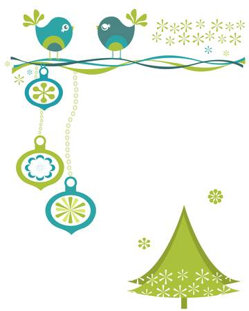christmas birds with tree and snowflakes Stock Vector - 17438486