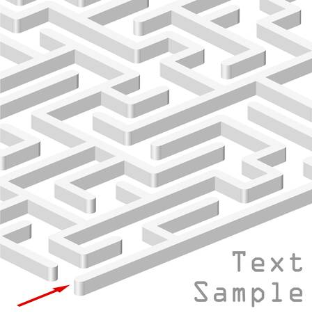 3d maze on white background Vector