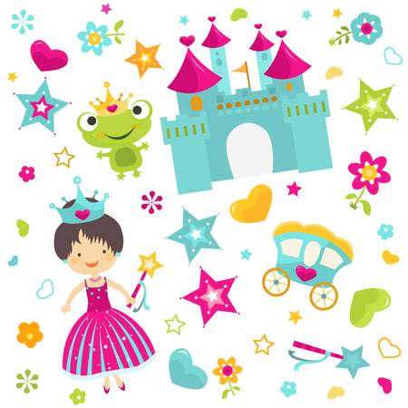 fairy wand: little princess with castle background Illustration