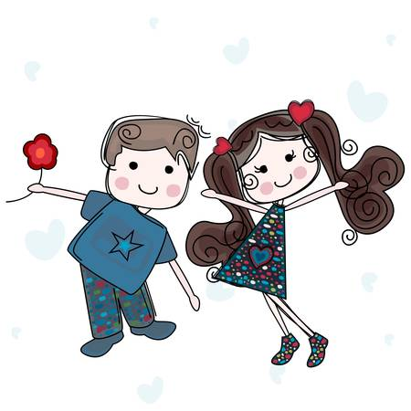 be my valentine card with girl and boy Illustration