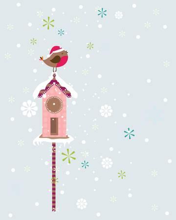 christmas robin: robin christmas bird with santa hat Illustration