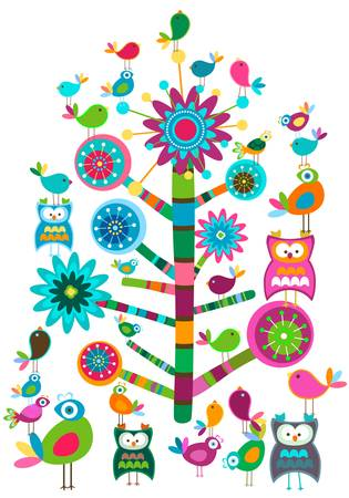 whimsy: whimsy birds and tree colorful design Illustration