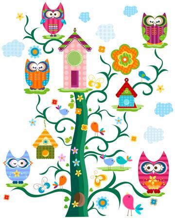 sowa: kolorowe sowy s drzewa w rozkwicie