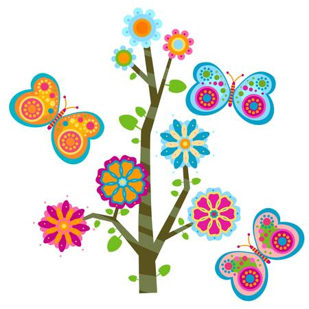 sweet floral tree and butterflies Ilustracja