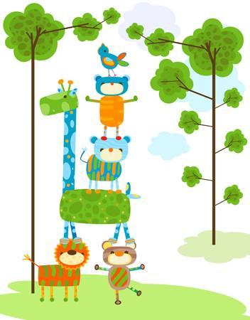 monkey face: jungle cute animals, funny animals Illustration