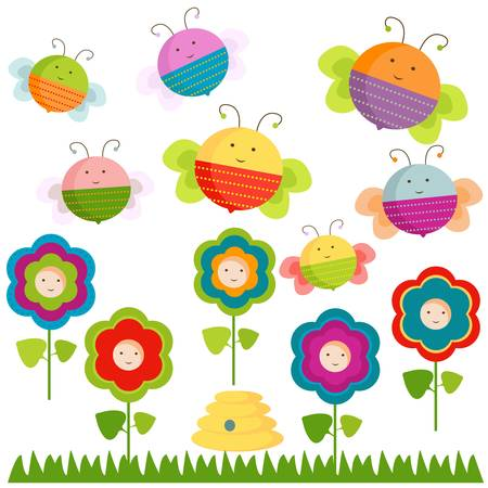 happy bees and flowers background Stock Vector - 17476321