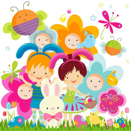 easter background with happy bees and flowers  Vector