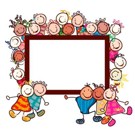 simple border: happy kids with smiling faces