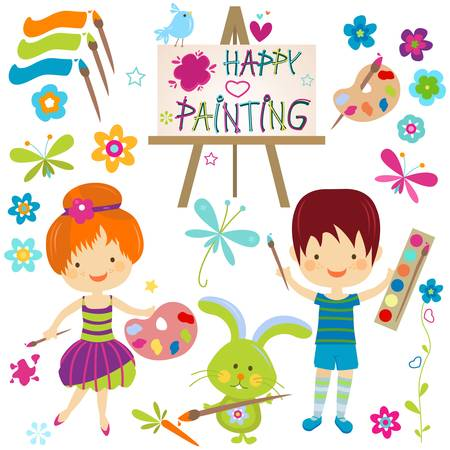 children painting: happy little painters; girl and boy painting