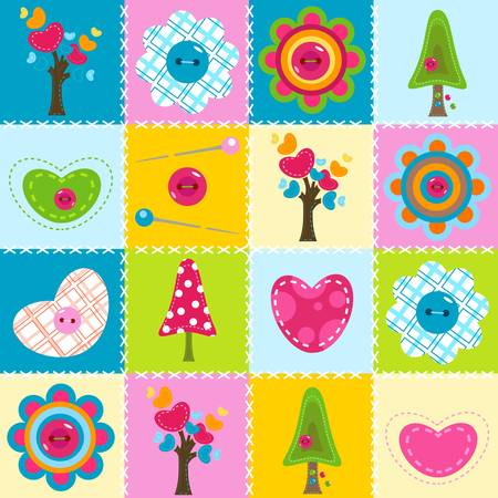 baby background in stitched textile style Stock Vector - 17476326