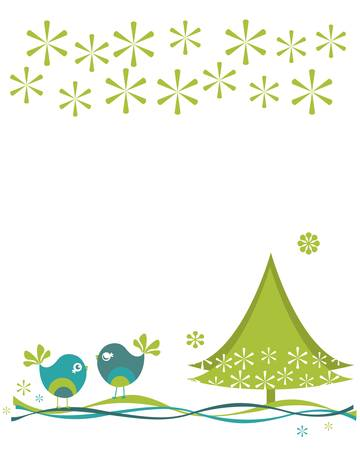 christmas birds with tree and snowflakes Stock Vector - 17476331