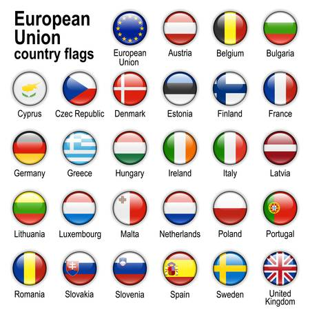 Flags of countries - members of European Union Vector