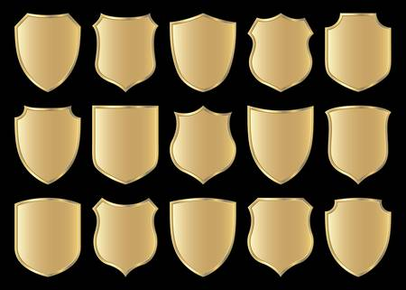 golden shield design set with various shapes