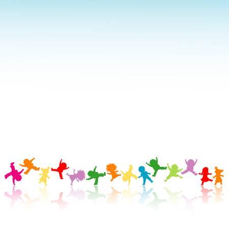 niños bailando: niños felices Vectores
