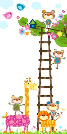 giraffe and little monkeys near a tree with a bird`s house Vector