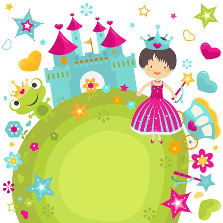 princess dress: little princess at her castle Illustration