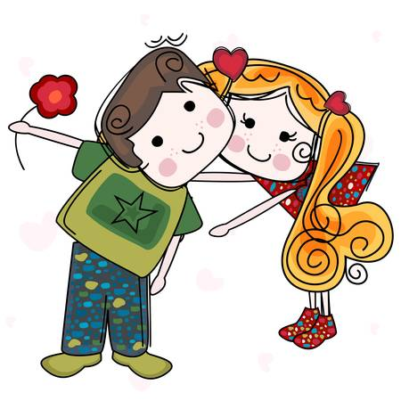 be my valentine card with girl and boy Stock Vector - 17581711