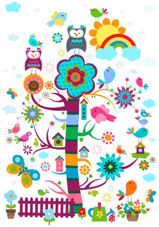 whimsy garden with birds and tree  Ilustracja