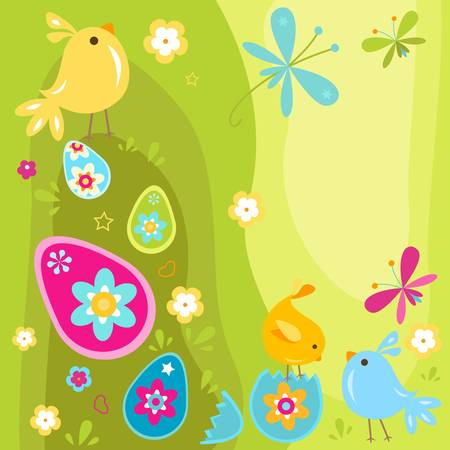 easter chicks and eggs design Stock Vector - 17581696