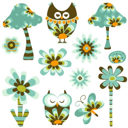 summer vegetable: retro fantasy owl, flowers and mushrooms