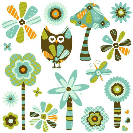 retro fantasy owl, flowers and mushroom Vector