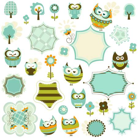 whimsy: set of owls and frames Illustration