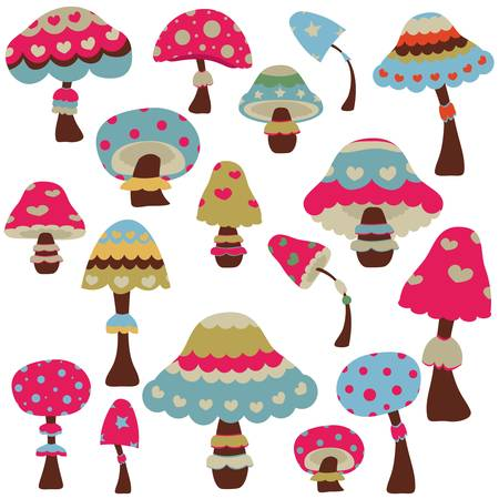 set of colorful decorative mushrooms Stock Vector - 17581699