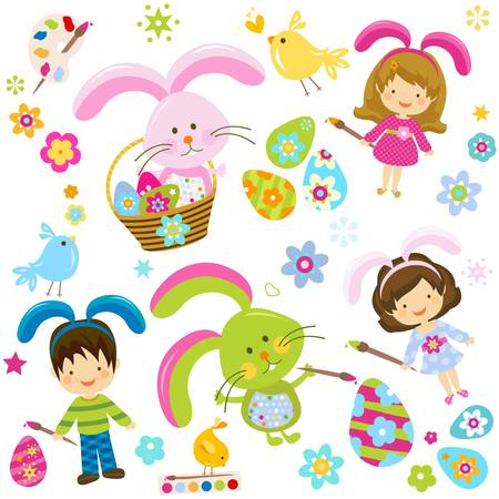 children painting the easter eggs  Vector
