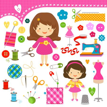 cute girls having fun sewing Vector