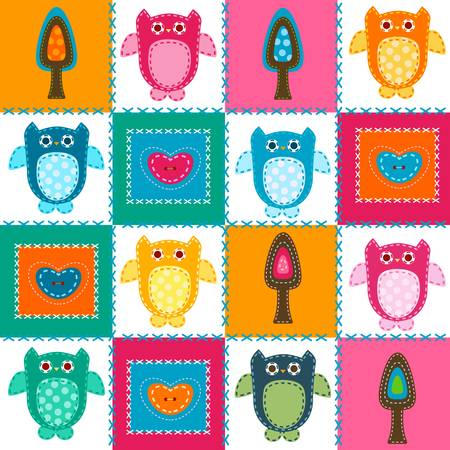 tress: owls in stitched textile style