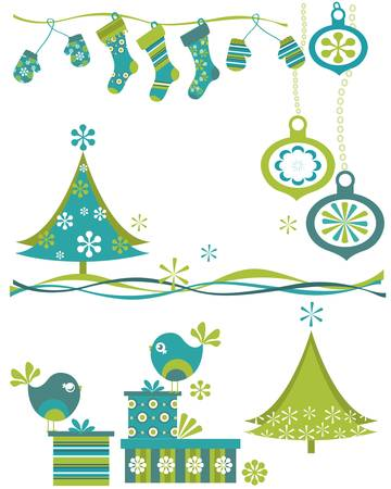 christmas set with birds and trees Stock Vector - 17581702