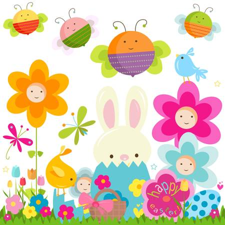 easter background with happy bees and flowers  Stock Vector - 17581704